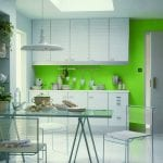 divine-interior-inspiration-wonderful-green-kitchen-ideas-with-clear-glass-counter-top-dinning-table-also-white-finished-maple-wood-kitchen-cabinet-an