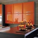 interior-kitchen-impressive-orange-kitchen-design-with-fancy-dark-brown-wood-rectangular-dining-table-and-cool-orange-floating-kitchen-cabinet-plus-white-knobs-also-beautiful-gray-white-striped-wall