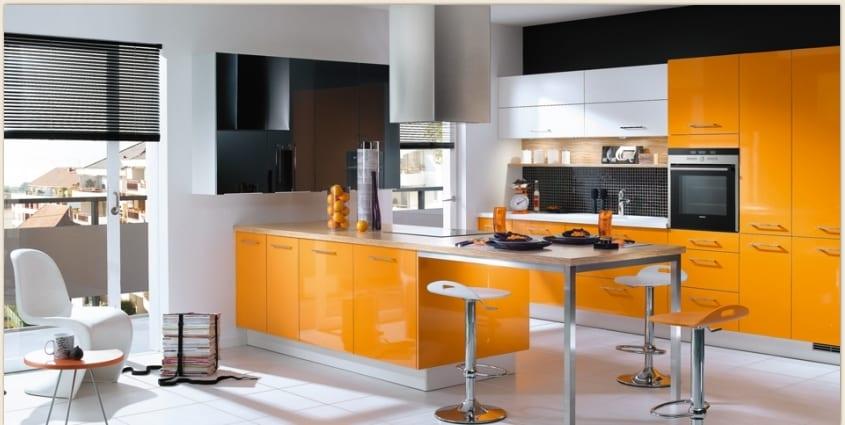 Фото оранжевые кухни интерьер дизайн