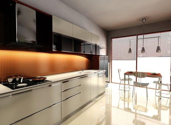Как правило, большое количество света и пластик улучшают внешний вид чёрно-оранжевой гаммы