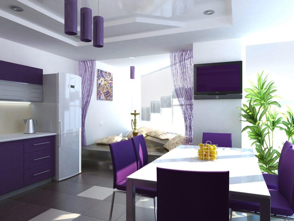 Дизайн кухни в цветах