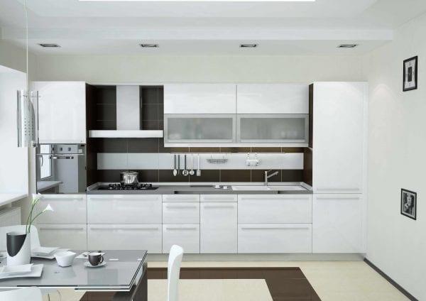 Кухня от с фасадами из крашеного каленого стекла