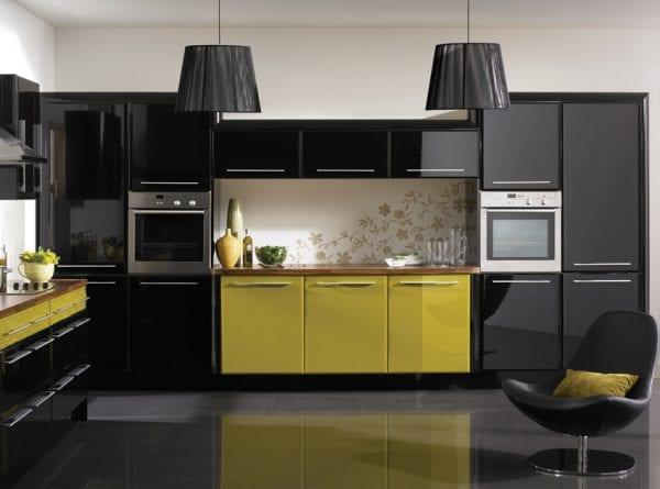 Кухня черный металлик