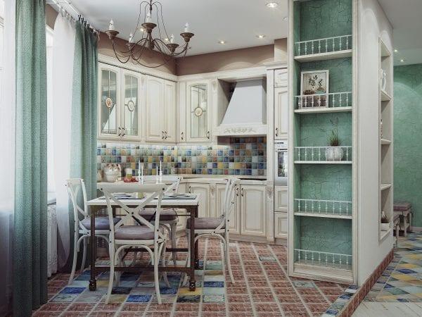 Стол на кухне в стиле прованс