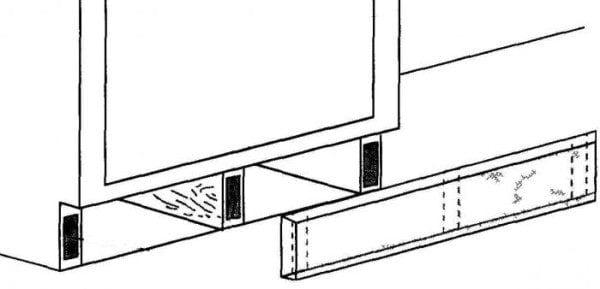 Крепление фальш панели на кухне при помощи магнитов
