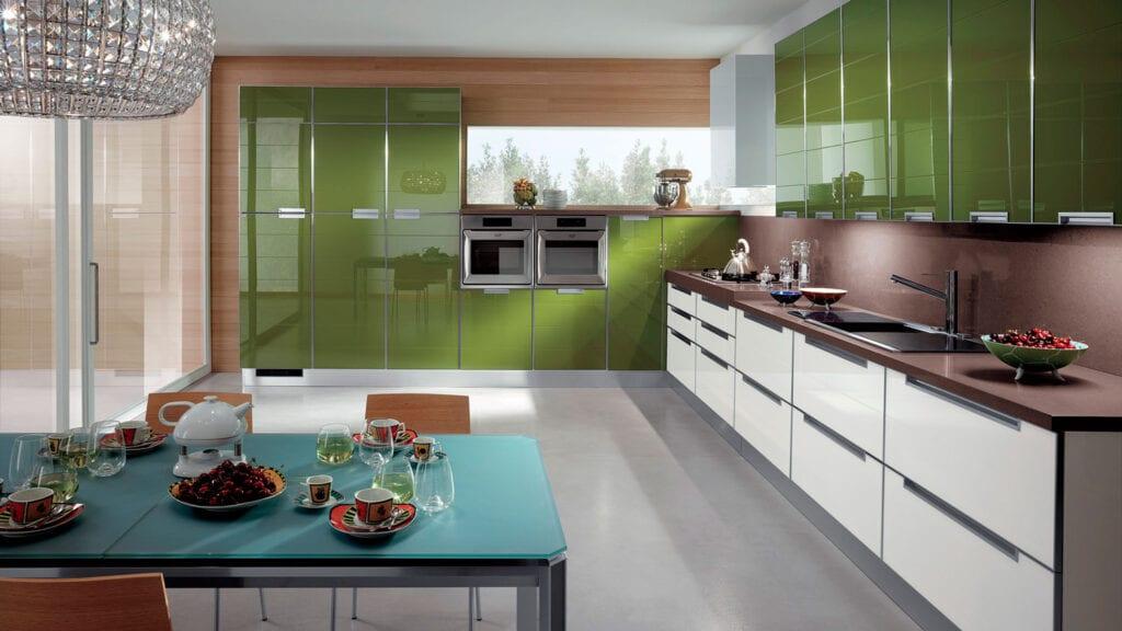 Коричнево оливковая кухня фото