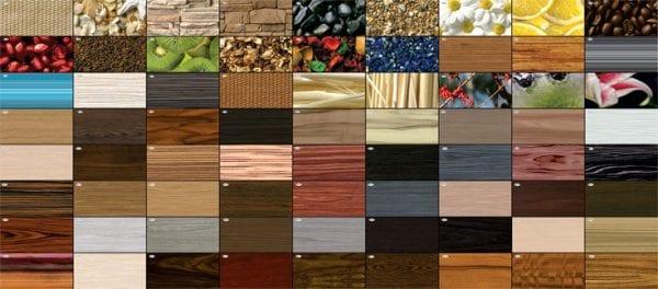Образцы панелей с разным декоративным покрытием