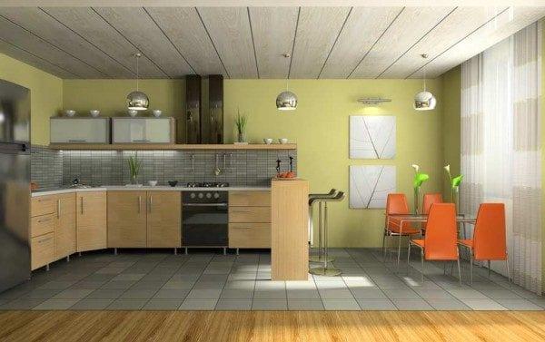 Потолок на кухне из ПВХ панелей.