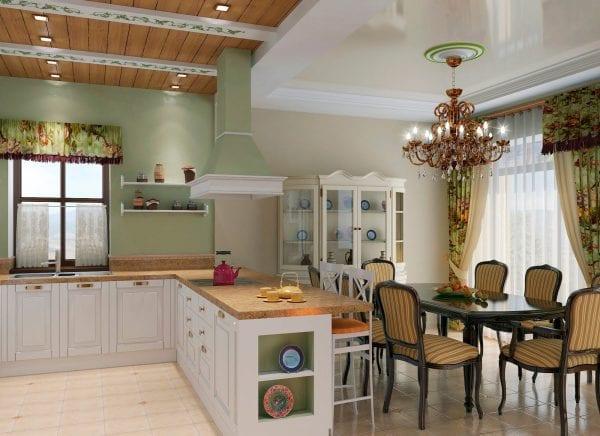Кухня-гостиная в стиле прованс с островом