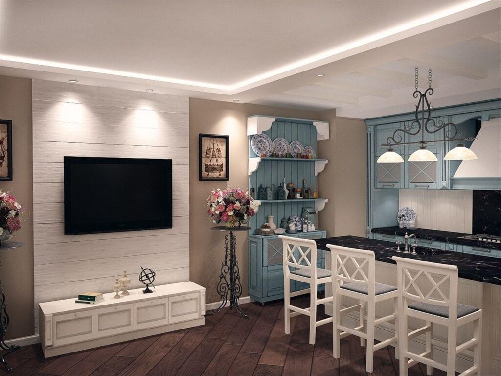 Дизайн кухня гостиная в стиле прованс