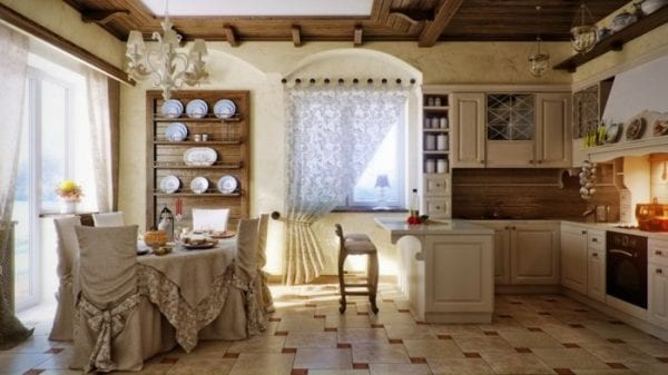 Кухня в стиле прованс: текстиль