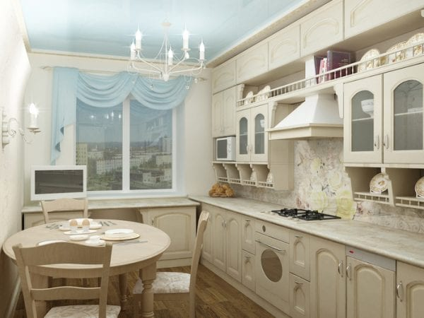 Фартук для белой классической кухни