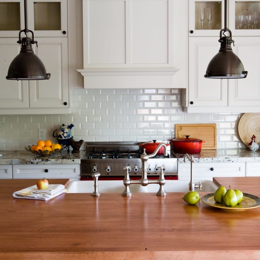 White tile backsplash kitchen