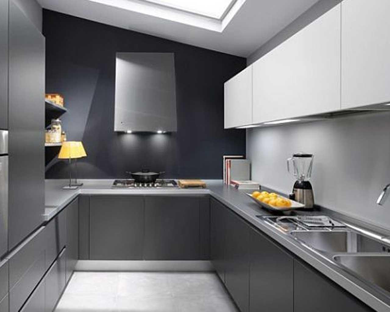 Интерьер кухни серого цвета фото
