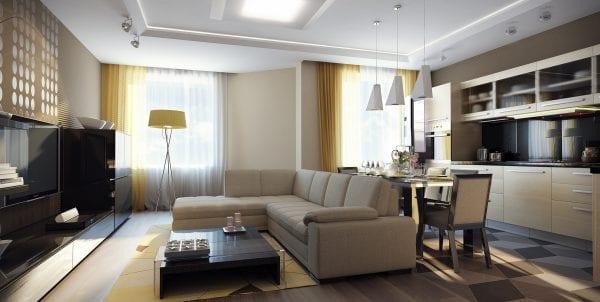 Кухня-гостиная 19 кв.м. минимализм