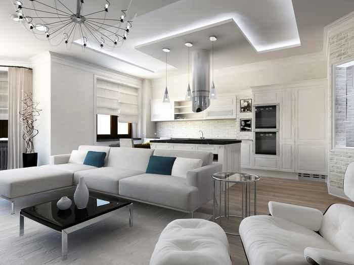 Гостиная современный дизайн потолок