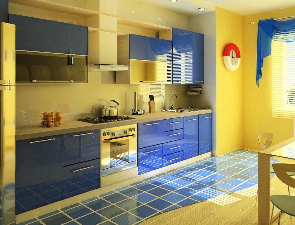 Дизайн синей кухни мебель