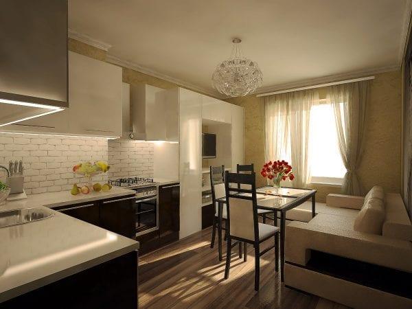 Пример совмещения кухни с гостиной, когда стена полностью снесена