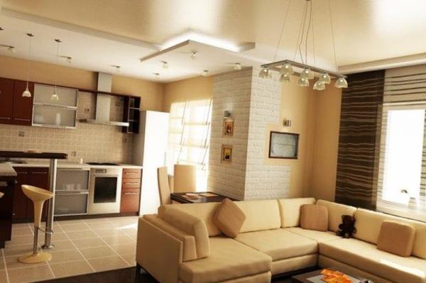 Типичная планировка совмещенной столовой, гостиной и кухни в загородном доме