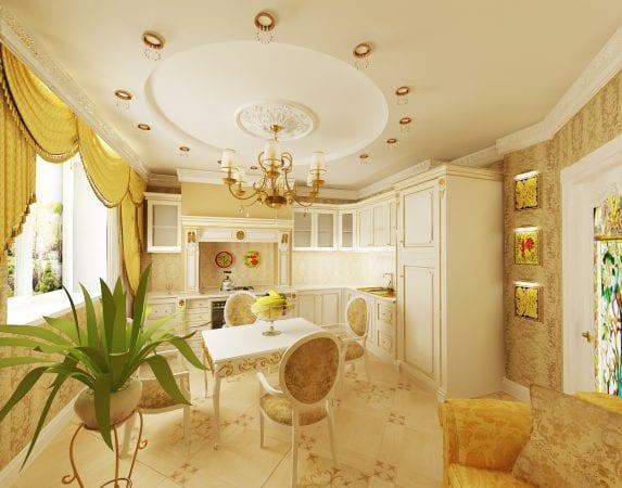 Дизайн кухни и гостиной в стиле барокко