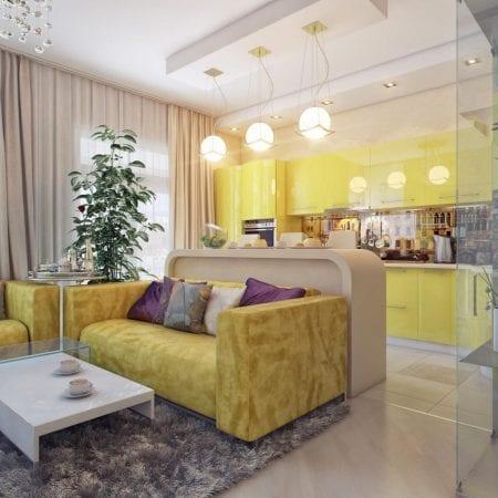 Желтая обивка мягкой мебели в цвет кухни