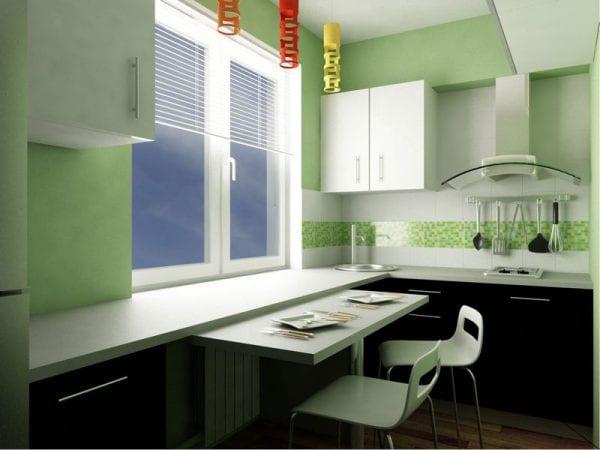Проект с реализацией идеи оформления подоконника в качестве обеденного стола