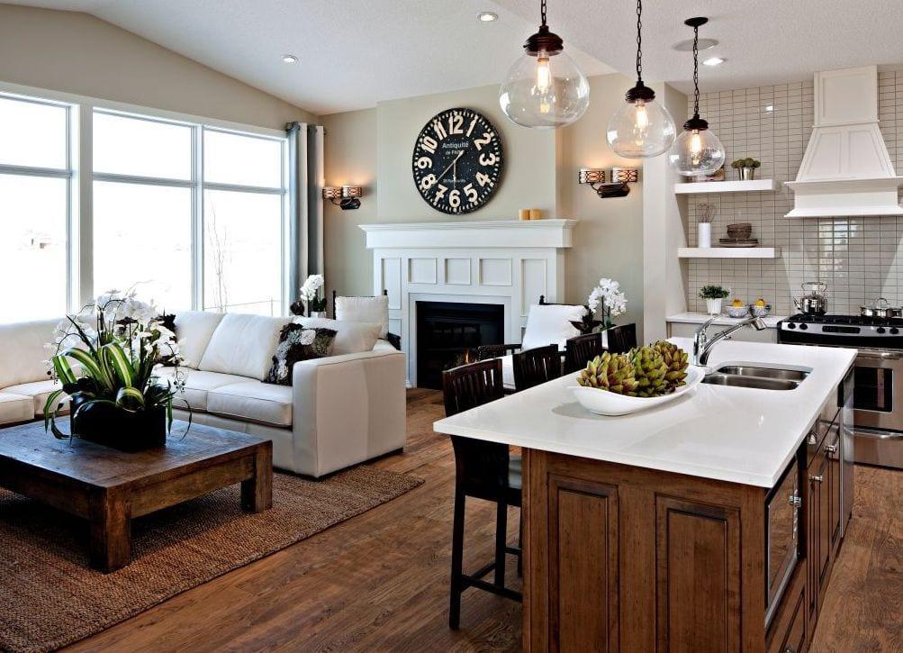 Дизайн столовой кухни и гостиной комнаты, интерьер кухни