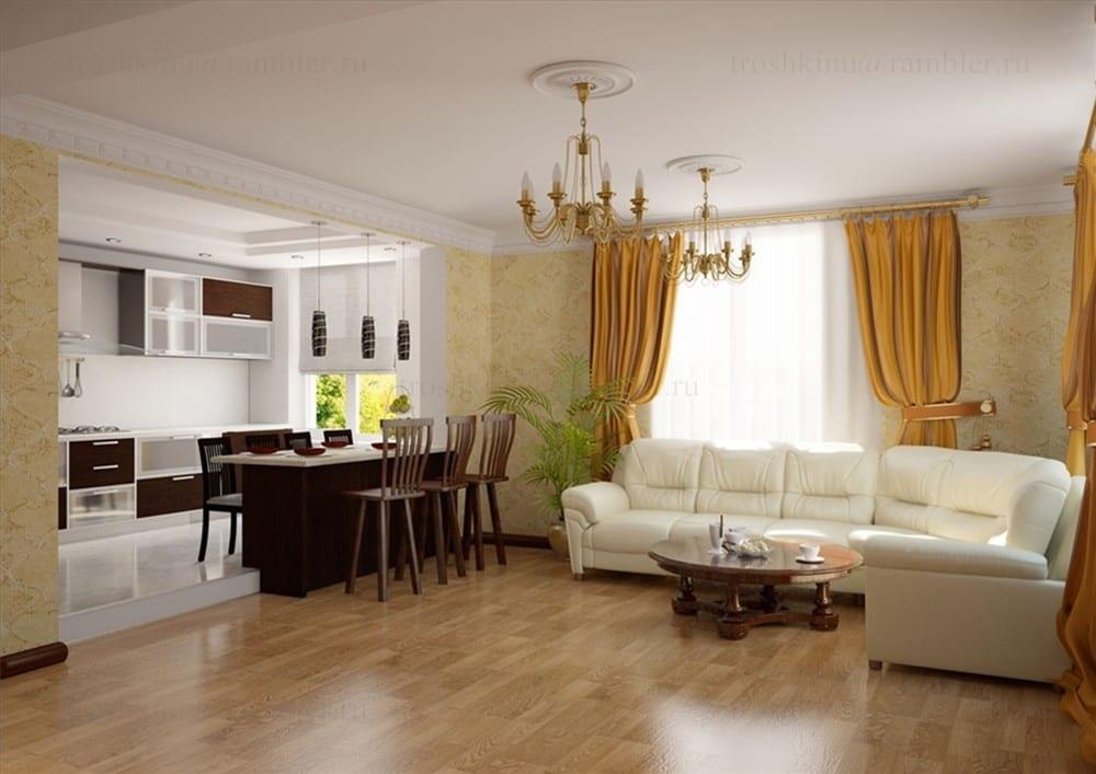 Кухня+гостиная в квартире дизайн фото