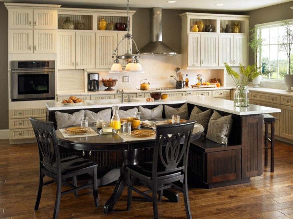 Дизайн кухни с зоной для стола