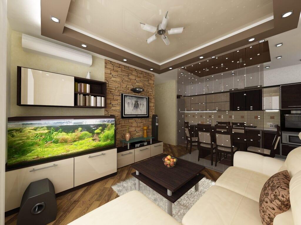 Дизайн кухни-гостинной квадратной 19 кв.м