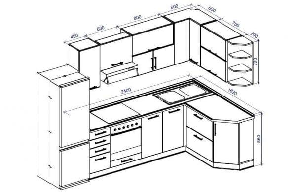 Пример чертежа кухни