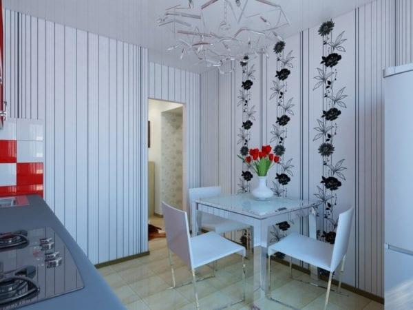Комбинирование стеновой отделки позволяет изменить характер интерьера