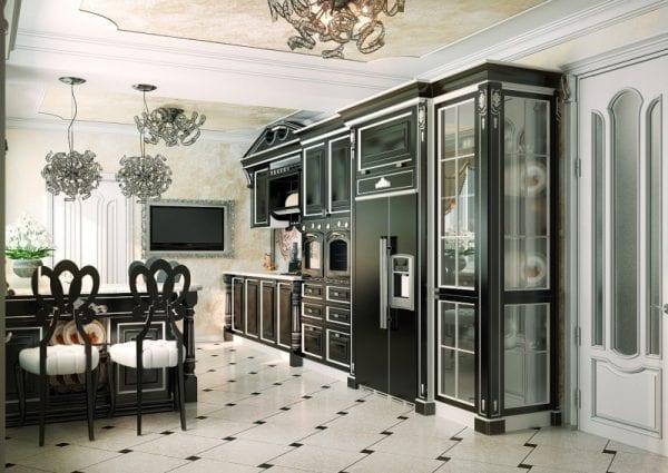 Темный дизайн неоклассической кухни