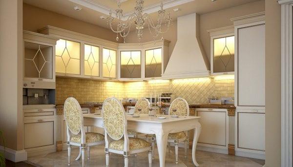 Интерьер кухни в цвете слоновая кость