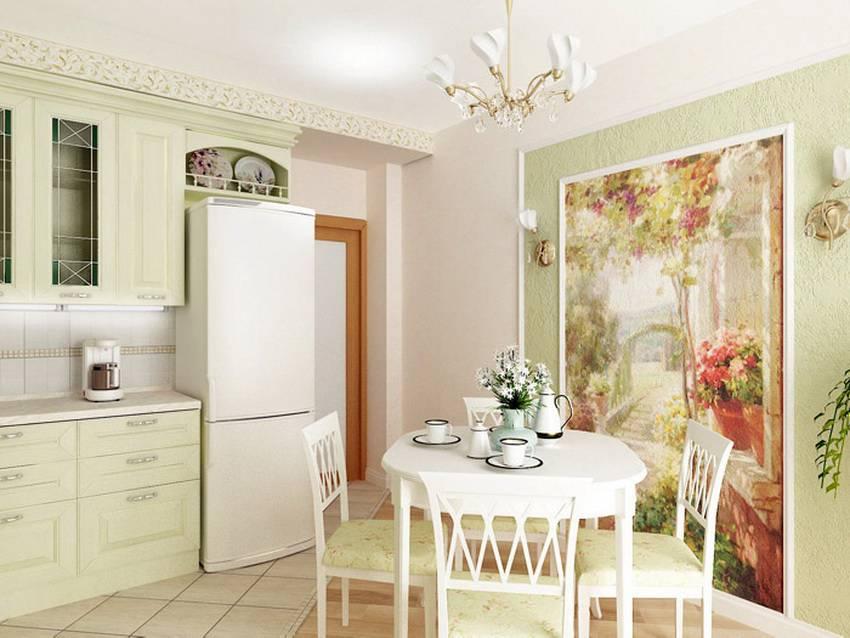 Фотообои на маленькую кухню в интерьере фото