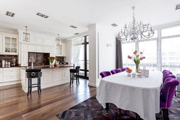 Один цвет для кухни и столовой