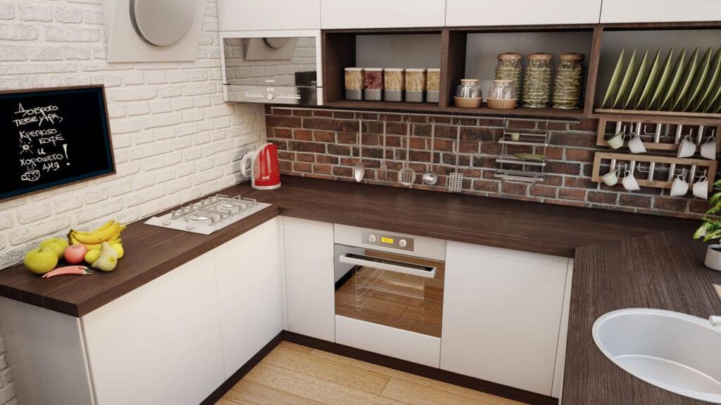Кухня белый фасад темная столешница заказ столешницы Рахманово