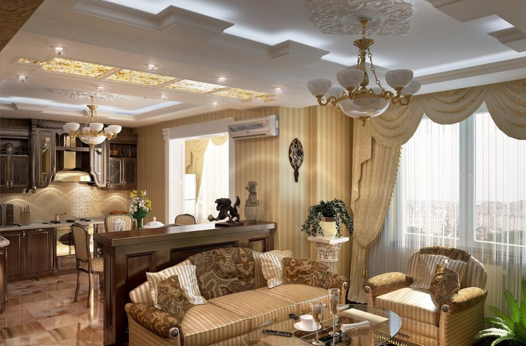Дизайн гостиной и кухни в классическом стиле