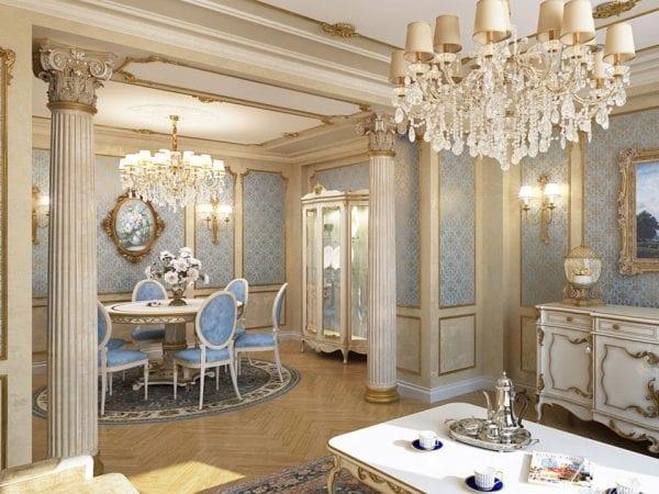 Кухня-гостиная в классическом стиле с колоннами