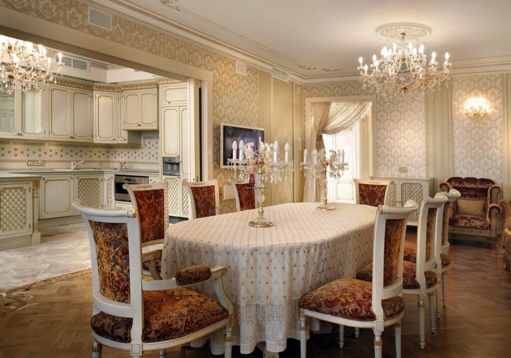 кухня гостиная в классическом стиле 50 фото дизайн проектов столовая