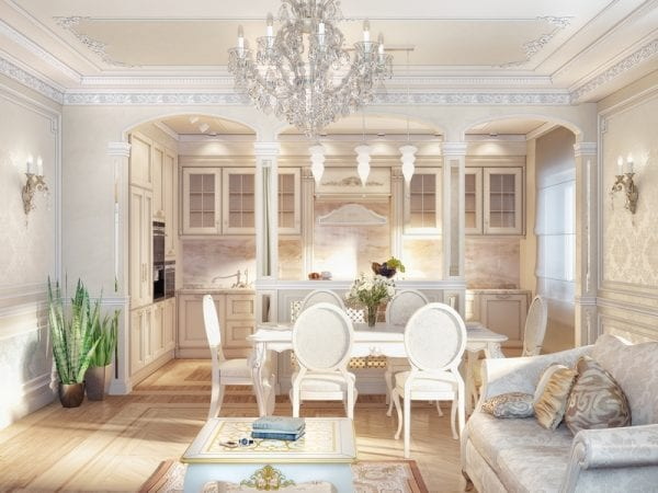 Благородный интерьер кухни в классическом стиле