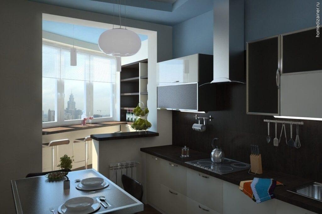 Фото идеи для кухни с лоджией