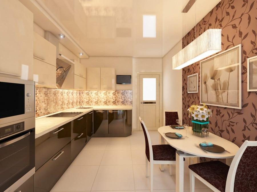 Белая кухня с коричневыми обоями