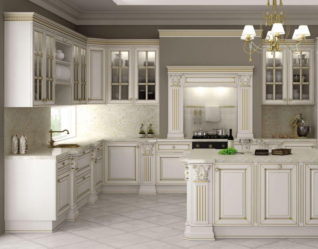 Белая кухня классика фото в интерьере