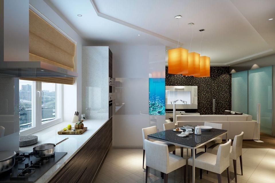 Кухня столовая в квартире дизайн