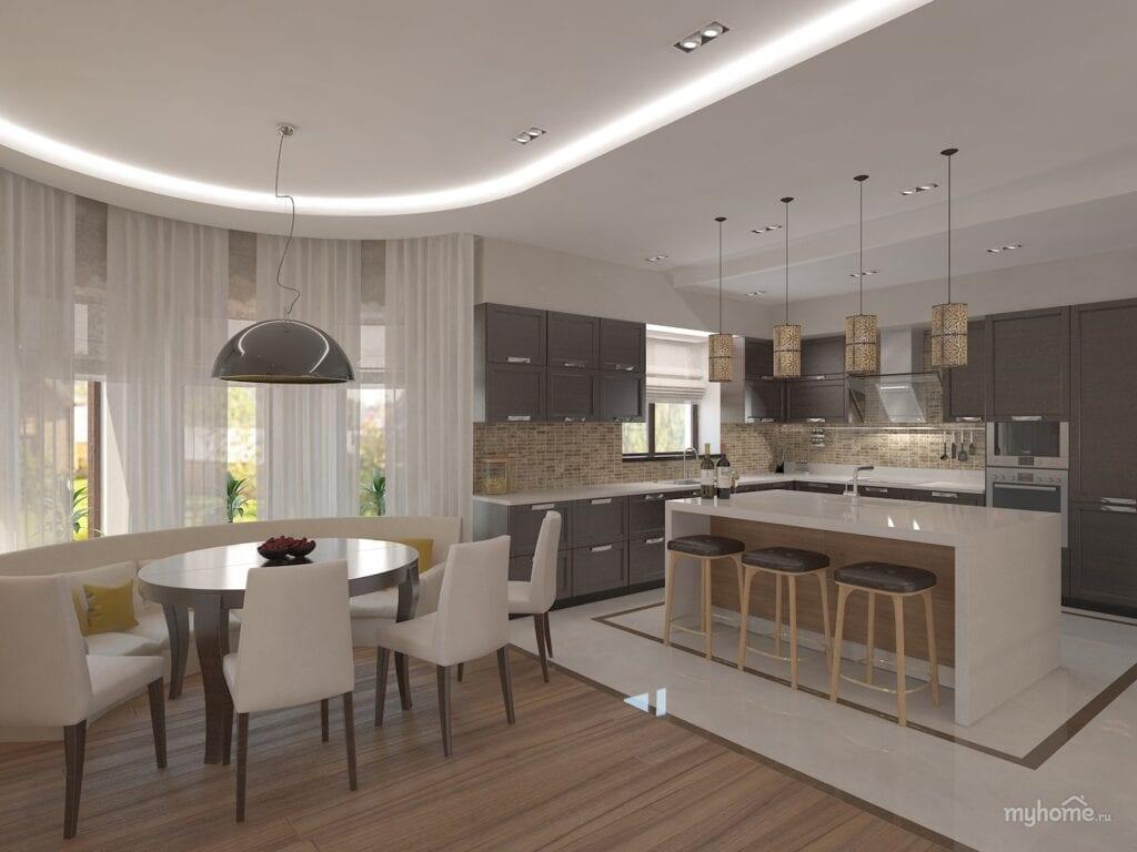Кухня и столовая с эркером дизайн фото