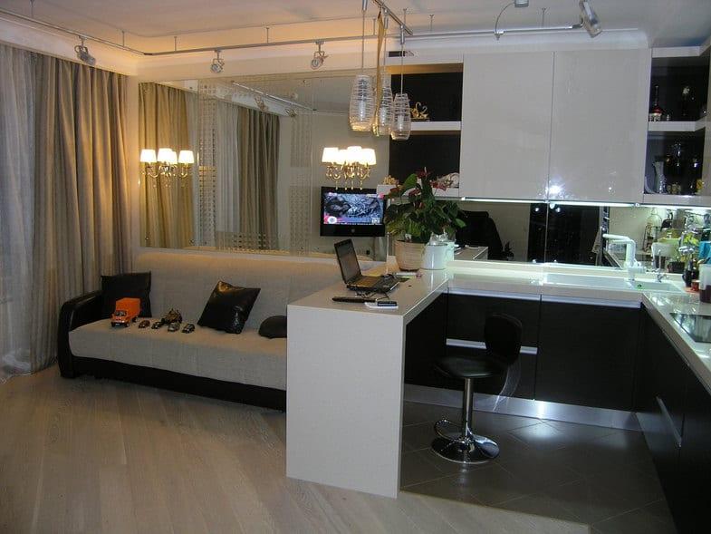 Кухня гостиная дизайн 20 кв м с диваном