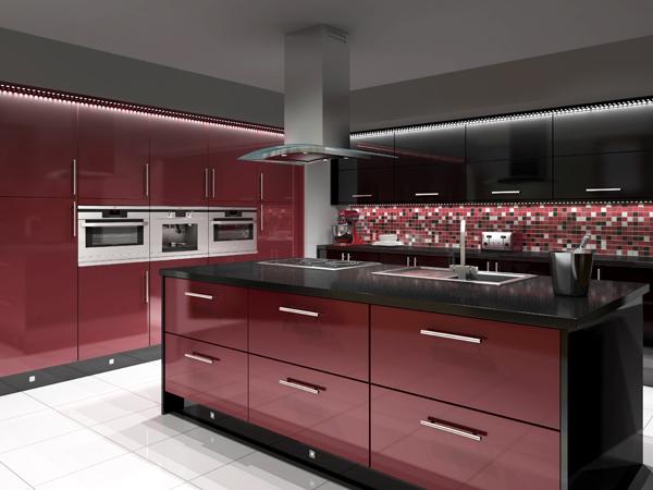 Черно-бордовая кухня