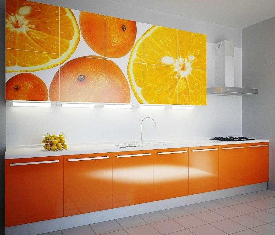 Оранжево-белый кухонный гарнитур