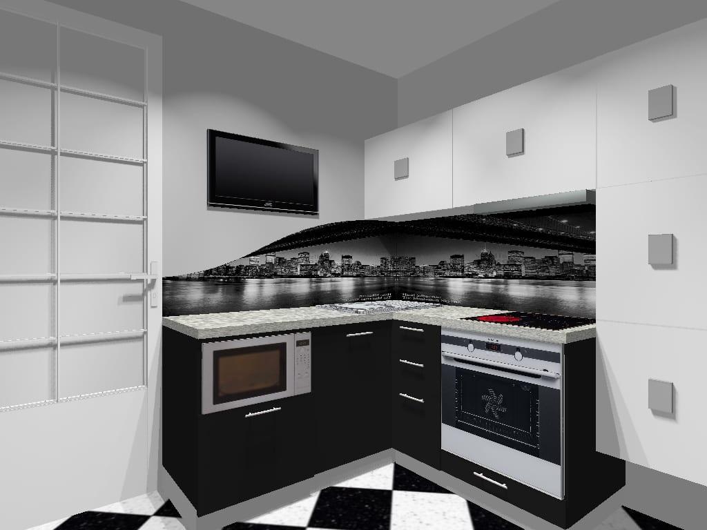 Черно-белая кухня с серым кафелем